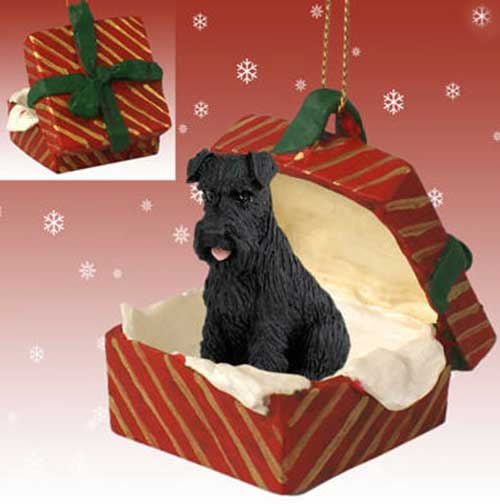 Schnauzer Black Uncropped Gift Box Red Christmas Ornament