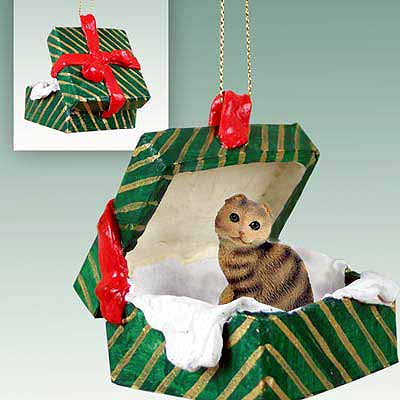 Scottish Fold Cat Gift Box Christmas Ornament