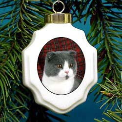Scottish Fold Christmas Ornament Porcelain
