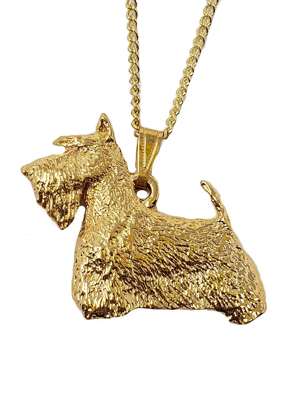 Scottish Terrier 24K Gold Plated Pendant with Necklace