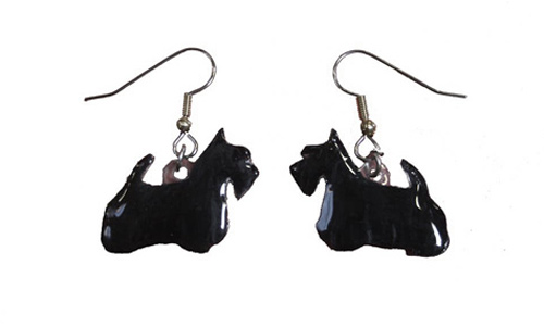 Scottish Terrier Earrings Hand Painted Acrylic