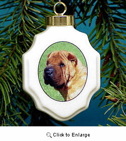 Shar-Pei Christmas Ornament Porcelain