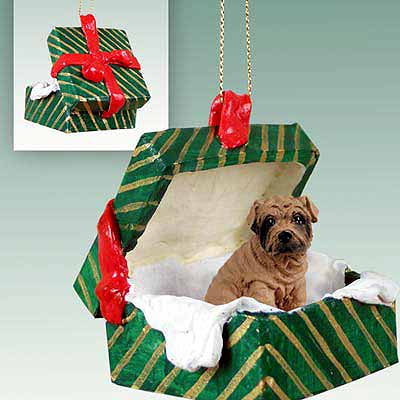 Shar Pei Gift Box Christmas Ornament Brown