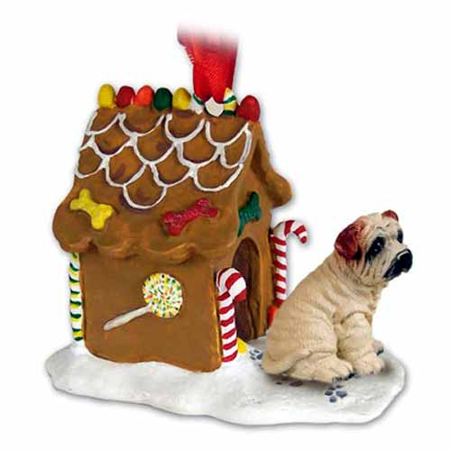 Shar Pei Gingerbread House Christmas Ornament Cream