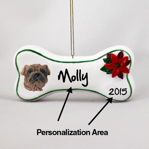 Shar Pei Personalized Dog Bone Christmas Ornament