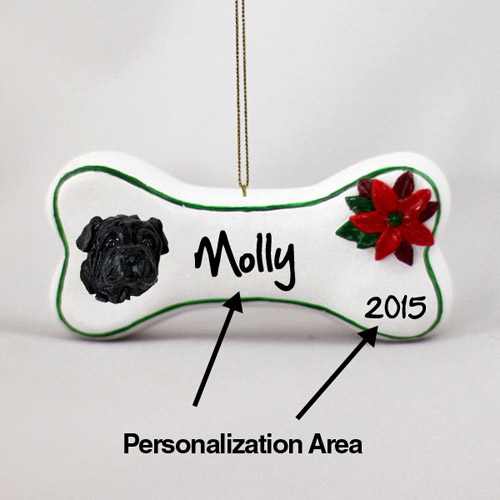 Shar Pei Personalized Dog Bone Christmas Ornament Black