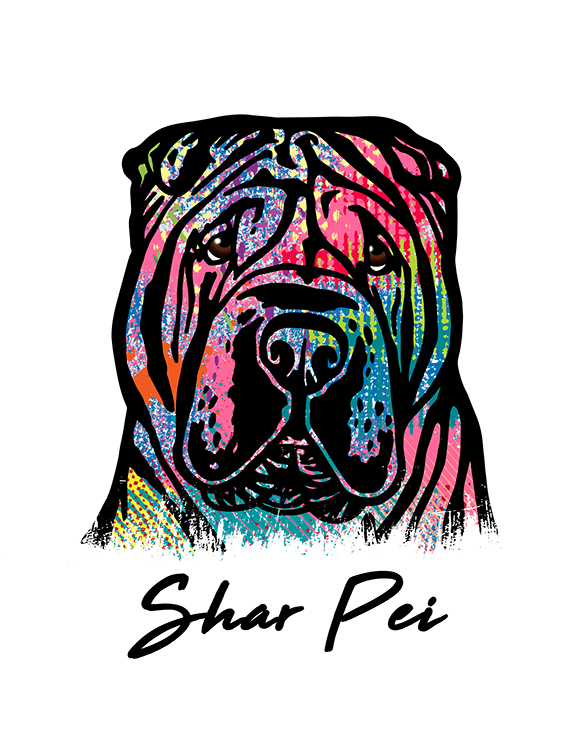 Shar Pei T Shirt Colorful Abstract