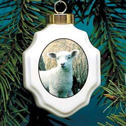 Sheep Christmas Ornament Porcelain