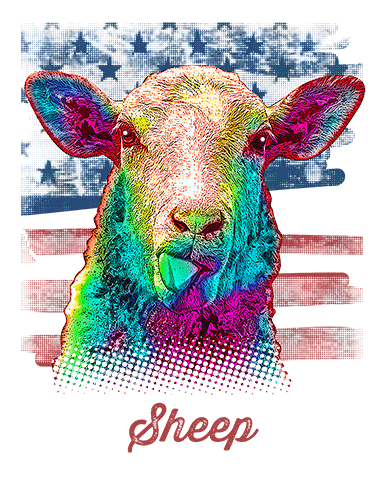 Sheep T Shirt American Flag