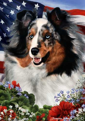 Sheltie House Flag Blue Merle