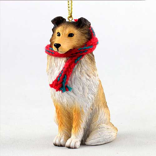 Sheltie with Scarf Christmas Ornament Large Version