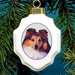 Sheltie Christmas Ornament Porcelain