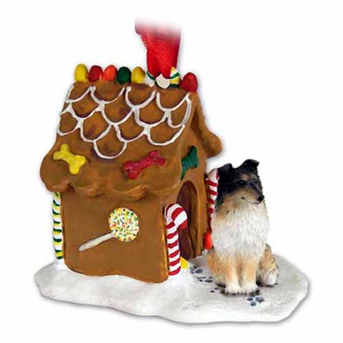 Shetland Sheepdog Gingerbread House Christmas Ornament Tricolor