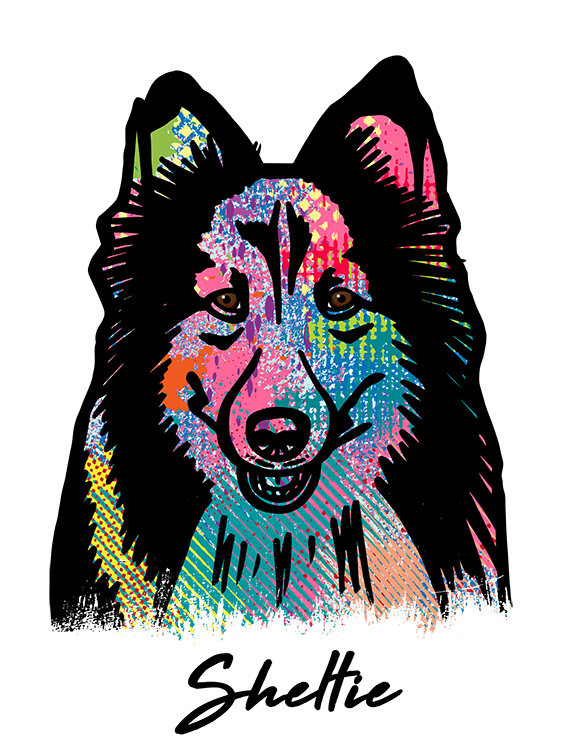 Shetland Sheepdog T Shirt Colorful Abstract