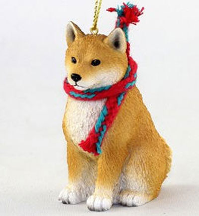 Shiba Inu with Scarf Christmas Ornament Large Version