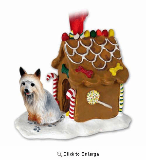 Silky Terrier Gingerbread House Christmas Ornament