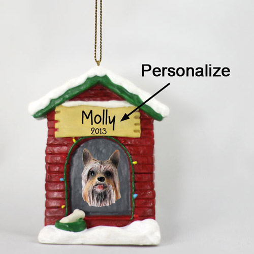 Silky Terrier Personalized Dog House Christmas Ornament
