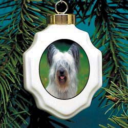 Skye Terrier Christmas Ornament Porcelain