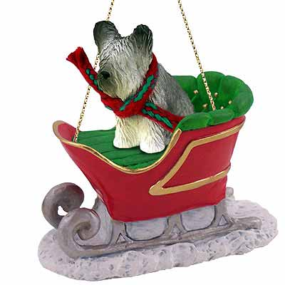 Skye Terrier Sleigh Ride Christmas Ornament