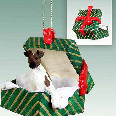 Smooth Fox Terrier Gift Box Christmas Ornament Brown-White