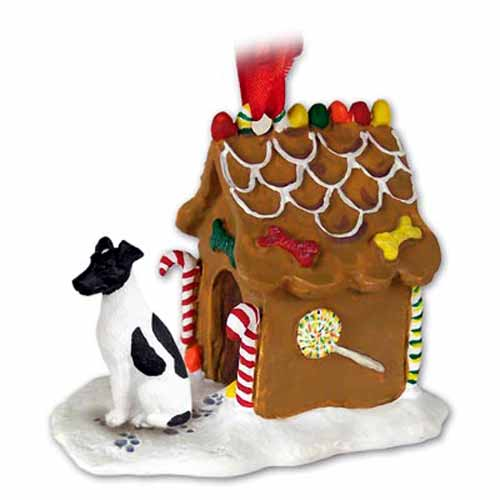 Smooth Fox Terrier Gingerbread House Christmas Ornament Black-White
