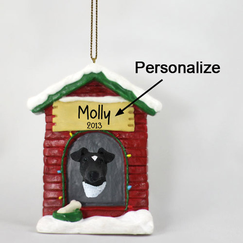 Smooth Fox Terrier Personalized Dog House Christmas Ornament Black-White
