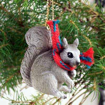 Squirrel Tiny One Christmas Ornament Gray