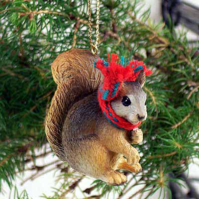 Squirrel Tiny One Christmas Ornament Red