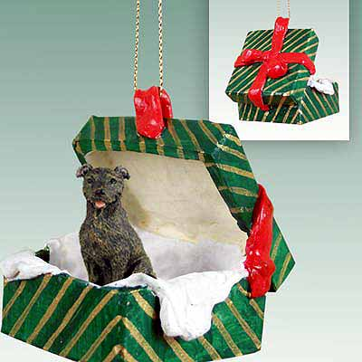 Staffordshire Bull Terrier Gift Box Christmas Ornament Brindle