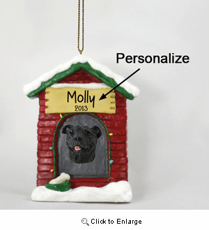 Staffordshire Bull Terrier Personalized Dog House Christmas Ornament