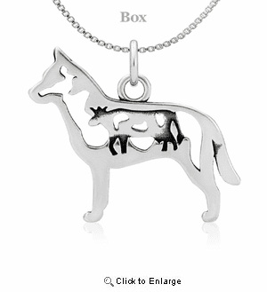 Sterling Silver Australian Cattle Dog W/Cattle Necklace