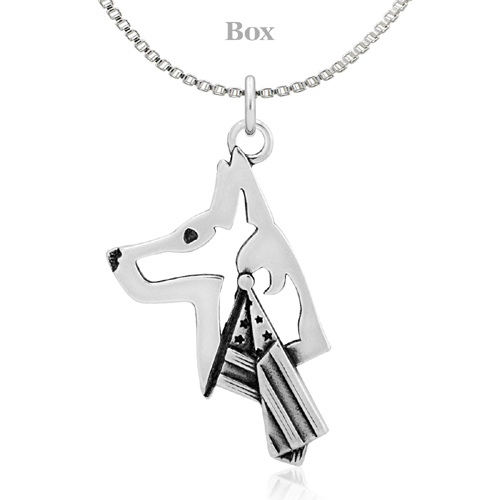 Sterling Silver Belgian Malinois W/Flag Necklace