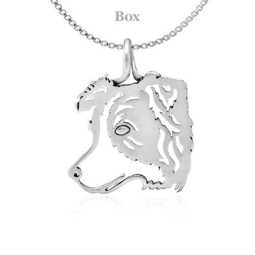 Sterling Silver Border Collie Silhouette Necklace