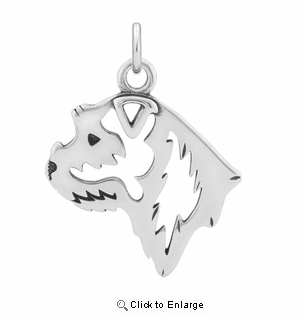 Sterling Silver Border Terrier Head Necklace