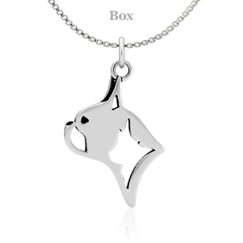 Sterling Silver Boston Terrier Head Necklace