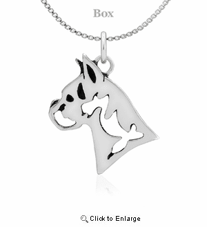 Sterling Silver Boxer Head Necklace