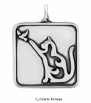 Sterling Silver Cat W/Bird Necklace