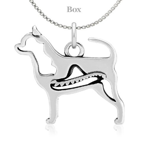Sterling Silver Chihuahua Body W/Sombrero Necklace