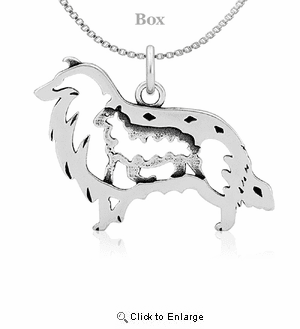 Sterling Silver Collie W/Sheep Necklace