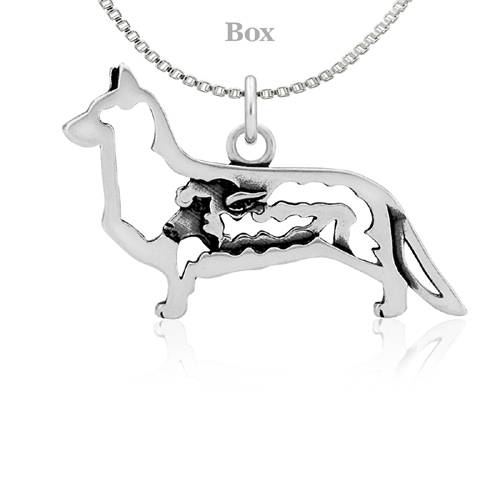 Sterling Silver Corgi Cardigan Body W/Sheep Necklace