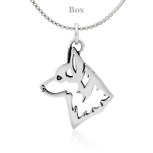 Sterling Silver Corgi Pembroke Head Necklace
