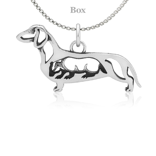 Sterling Silver Dachshund Body W/Badger Necklace
