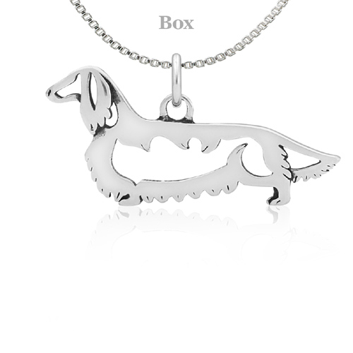 Sterling Silver Dachshund Longhaired Body Necklace