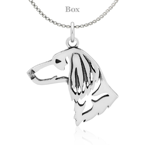 Sterling Silver Dachshund Longhaired Head Necklace