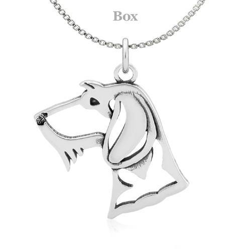 Sterling Silver Dachshund Wire Hair Head Necklace