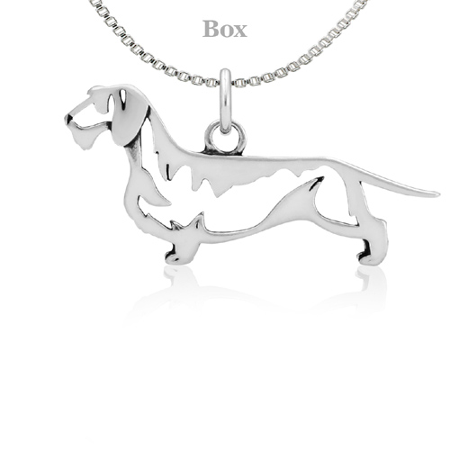 Sterling Silver Dachshund Wirehaired Body Necklace