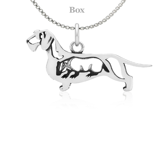 Sterling Silver Dachshund Wirehaired W/Badger Necklace
