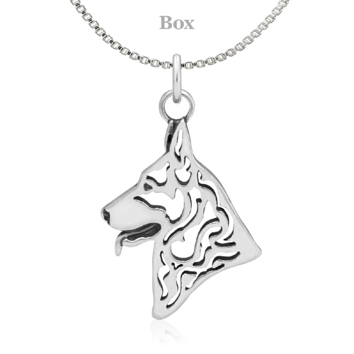 Sterling Silver German Shepherd Head Necklace