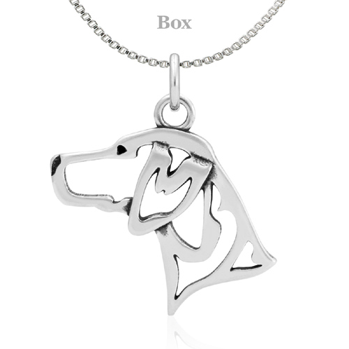 Sterling Silver German Shorthaired Pointer Head Necklace