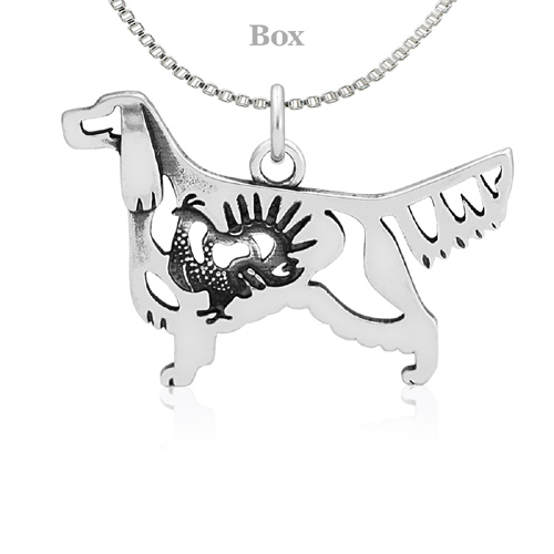 Sterling Silver Gordon Setter Body W/Grouse Necklace